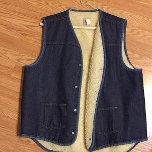 Men's fleece lined jeans vest